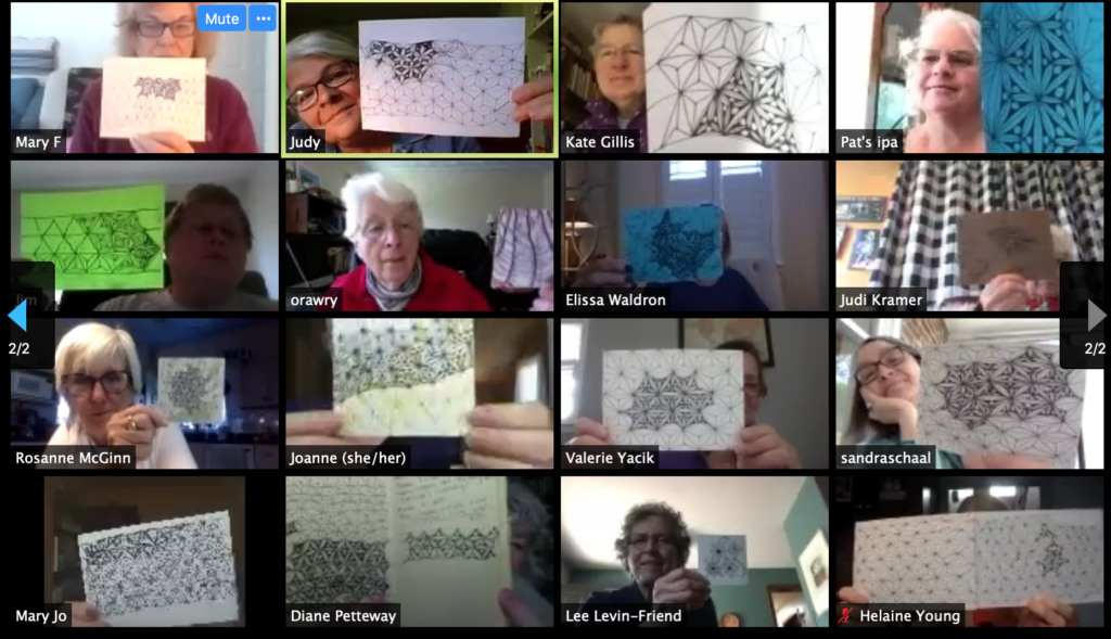 Zoom call with people showing art work
