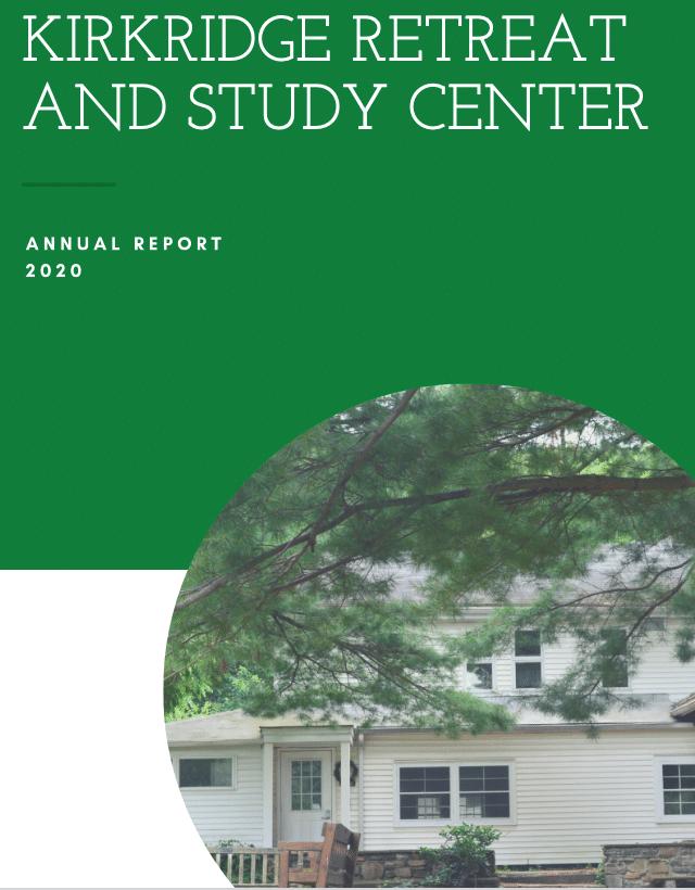 screen shot of cover of Kirkridge annual report 2020